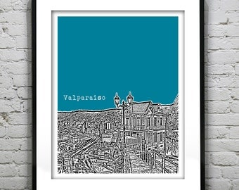 Valparaiso Chile Poster Print Skyline Art South America Version 1