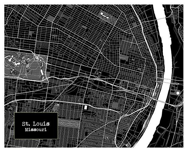 St Louis Blueprint Map Poster Art Print Missouri Mo