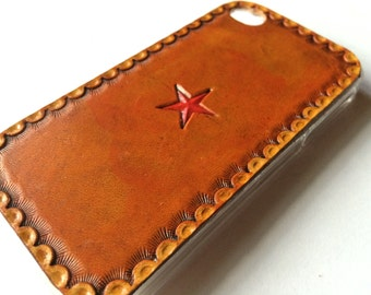 Leather iPhone 4s Case / Leather iPhone 4 Case - The Lodgepole Case - Cowboy Star