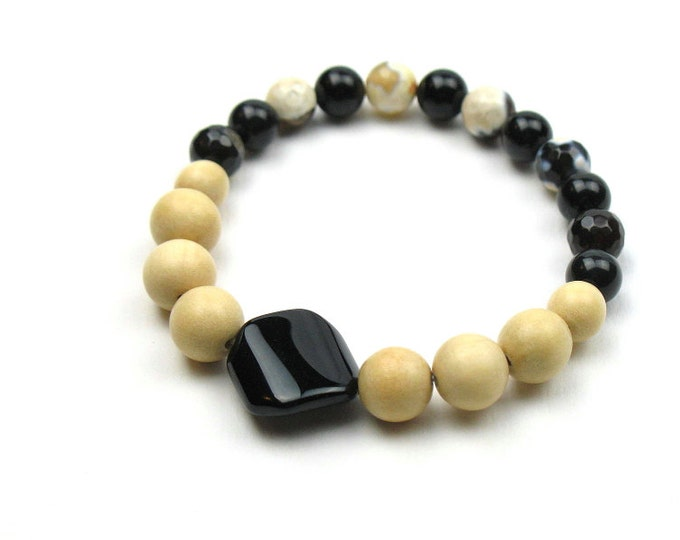Beaded Stretch Bracelet in Black and Beige with Natural Wood, Agate and Obsidian Stone