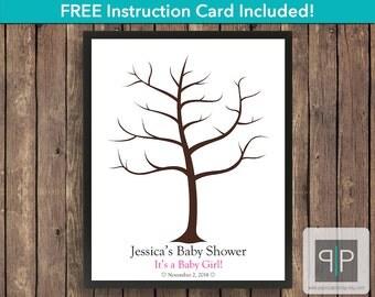 Fingerprint Baby Shower Guest Book Tree, Fingerprint Guestbook, Thumbprint Guest Book Tree, Printable Girl Fingerprint Guestbook, Free Card