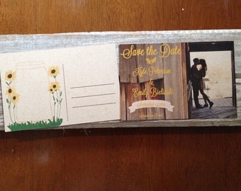 Rustic Sunflower Save the date on Kraft in barn