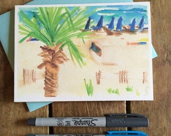 Beach Watercolor Notecard Stationery -- Beach scene with palm tree, Gulf Shores Alabama
