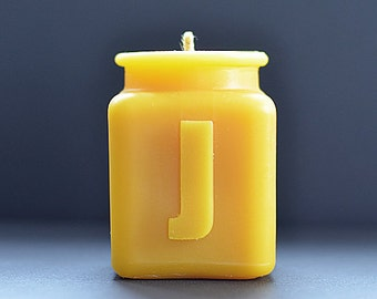 Handmade Personalized Letter J Monogram Beeswax Candle, Perfect Gift for Him or Her, Housewarming, or Corporate Gifts