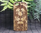 Lion iPhone SE or iPhone 5 or 5S Case. Eco-Friendly Bamboo Wood Cover. King Spirit Animal Totem Guardian Leo Africa Feline Wild iMakeTheCase
