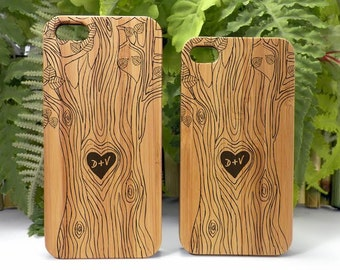 Lovers iPhone 7 Case. Carved Tree Heart Symbol Couple Engagement Gift Custom Initials Bamboo Wood Cover. iMakeTheCase Brand