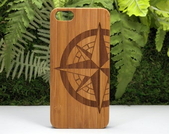 Compass Rose iPhone 7 Plus Bamboo Case. Nautical Navigation Tattoo Sailor Military Navy Army Gift. Wood Phone Cover iMakeTheCase