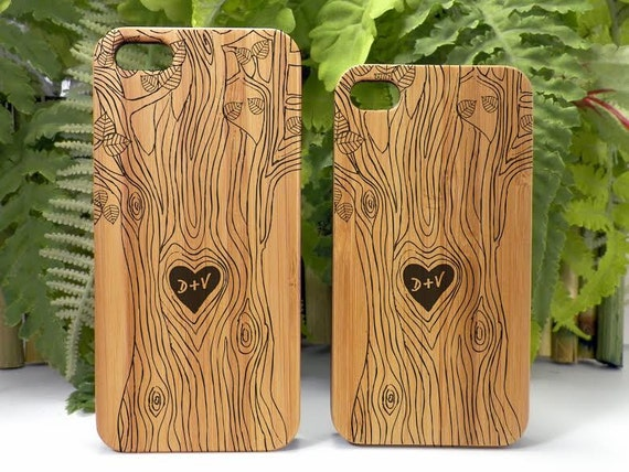 Lovers iPhone 6 Case Cover. Carved Tree Heart Symbol Couple Engagement Custom Initials Bamboo Wood Valentine's Day Gift Free U.S. Shipping