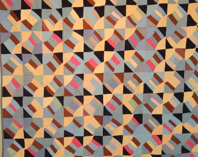 Featured listing image: Patchwork Quilt made from a vintage quilt top. Hand Quilted.  Heavy Fabric.
