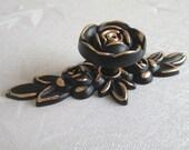 Shabby Chic Dresser Knob Drawer Pulls Knobs Handles Gold / Black Vintage Style Kitchen Cabinet Handle Pull Hardware Rose Flower Back Plate