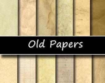 """Old Paper Digital Paper Pack - Instant download """"OLD PAPER"""", Vintage Paper; Scrapbooking, Invites, Cardmaking"""