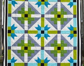 Baby Quilt Pattern, PDF, instant download, KONA Solids, modern patchwork, blue, green, black, white, grey.