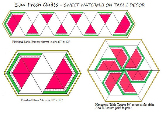 Sweet Watermelon Quilt Pattern PDF Instant Download Spring Summer Decor Table Runner