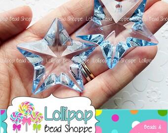 BLUE Faceted STAR Pendants 50mm Chunky Necklace Pendants 2-ct Transparent Clear Acrylic Pendants Facet Star Charms Bubblegum Beads