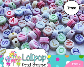 7mm COLORFUL ALPHABET Beads Letter Beads 200 Mixed Colors Letters Little Round Beads Acrylic Beads Letters For Stretchy Name Bracelets