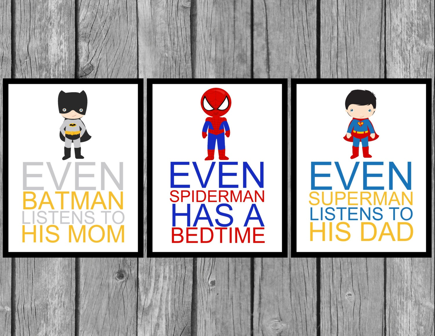 superhero wall art boys bedroom decor set of by turquoisefarmhouse. Black Bedroom Furniture Sets. Home Design Ideas