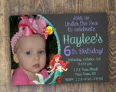 Little Mermaid Invitation Birthday Invitation Photo Invitation Ariel Invitation Under the Sea