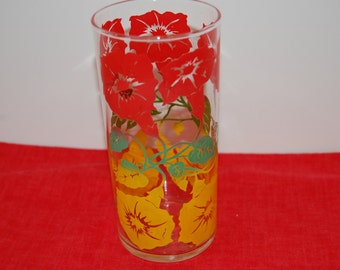 Vintage Red and Yellow Morning Glory Drinking Glass, 8 oz tumbler, Summer ice tea glass