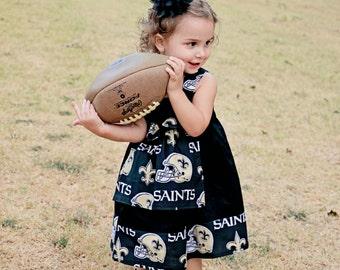 New Orleans Saints Dress, Saints Knot Dress, Football themed dress, NFL Dress, New Orleans Dress, Saints Dress,Football Dress