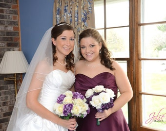 Pamela's Bridesmaids Bouquet with Plum Hydrangeas, Cream Open Roses