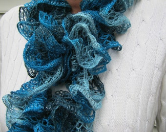 Ruffle Scarf Knitted Blue Winter Accessories Woman Teen Holiday Fashion Gift Idea For Her