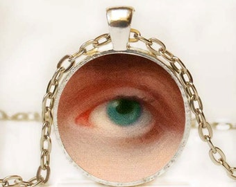 Blue Eye Photo Pendant Necklace Resin Vintage Blue Eye Romantic Necklace Resin Charm Photo Necklace