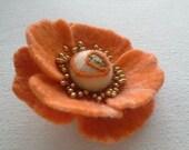 Felt Orange Flower,Wool felt jewelry, Felt Brooch  Flower, Felted  hair pin, Gift for her, Pin Flower, Orange felt pins, Handmade