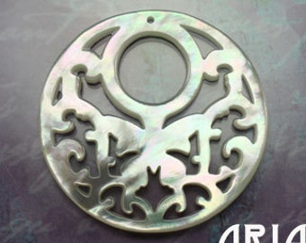 MOTHER OF PEARL: 40mm Mother of Pearl Carved Openwork Filigree Butterfly Hoop Component (1)