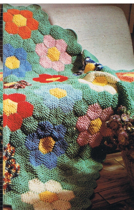 Grandmothers flower Garden crochet afghan pattern pdf