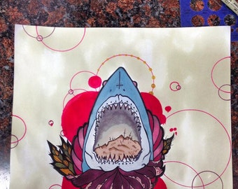 shark  Tattoo apprentice flash art print hand signed and numbered 10x10