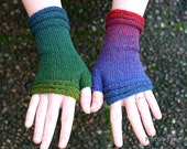 """Fingerless Mittens """"Rainbow"""" - handknitted from beautiful Estonian wool in brilliant colors, red, blue, green, perfect gift for her"""