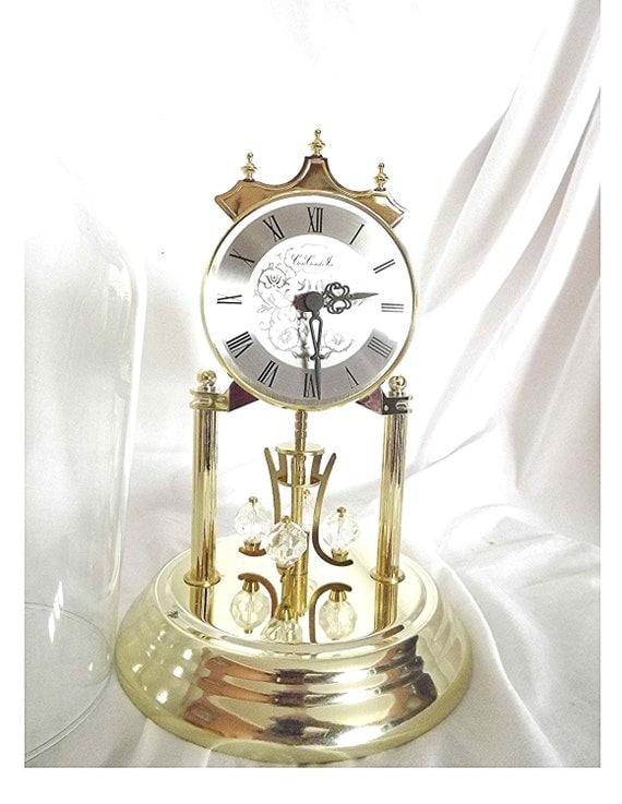 Vintage Concordia Anniversary Clock With Glass Dome Crystal