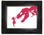 Silhouette Girl with T-Rex Dinosaur Nursery art print Victorian Steampunk Pink and other colors