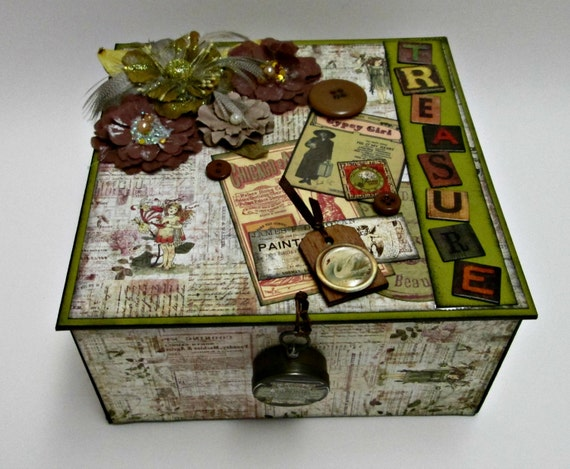 "Decorative Box, Jewelry Box, Trinket Box, Treasure Box,  ""TREASURE"" in Vintage Steampunk Style"
