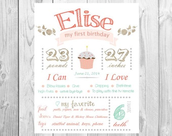 CUSTOM First Birthday Cute Girl Stats Printable prop/decor - Monthly/ First year birthday smash/birthday sign, floral, cupcake
