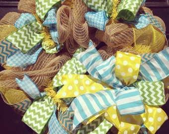 Burlap wreath // Yellow // Lime green // White // Turquoise // Spring Burlap Wreath // Summer Burlap Wreath // Chevrons // Stripes