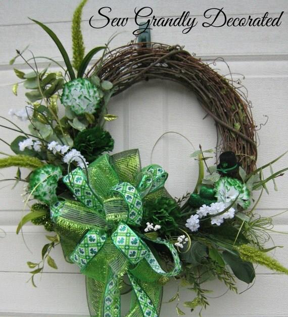 St. Patrick's Day Grapevine Wreath-Elegant Floral Wreath