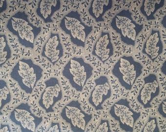 Riverwood by Troy,Summers Retreat, TRO-1414/3    Cotton fabric    1 yard  Blue Cream Leaf Print, Quilt/Apparel Fabric