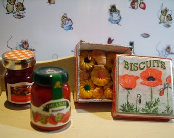 Poppies Biscuit Metal Tin Miniature for Dollhouse 1:12 scale
