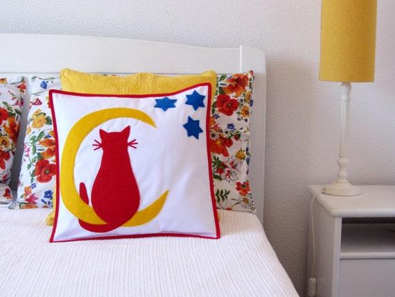 Https Www Etsy Com Listing 201122465 Boys Room Decor Pillow Cover Cat Moon
