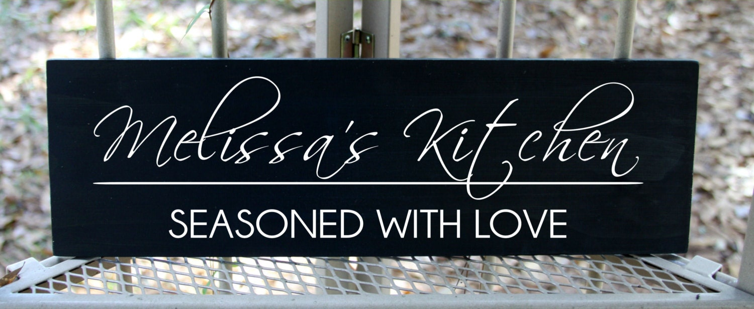 Personalized Kitchen Seasoned With Love Wood Sign