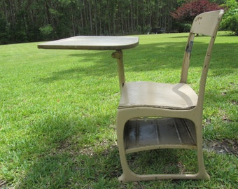 Vintage School Desk, Tan Desk, Child's School Desk, Retro School Desk