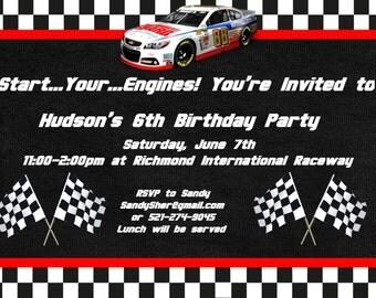 Nascar Birthday Invitation