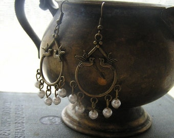 Birds and Pearls Aged looking dangle earrings 2 1/2 inches Wedding Bridesmaid jewelry