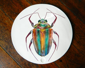 Beetle art tile handmade ceramic