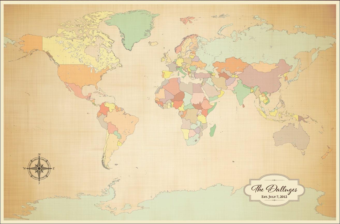 World Map Push Pin 2 year anniversary Cotton Anniversary