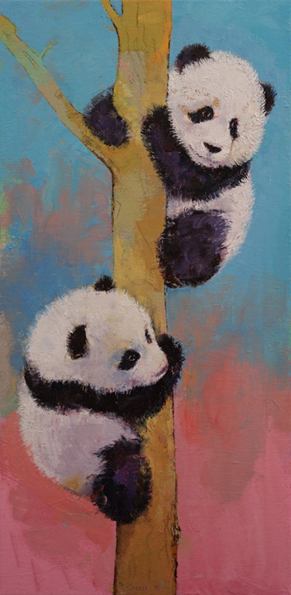 "PANDA FUN 12x24"" Oil Painting Pandas Bears Bear Baby Children's Room Pink Blue Original Art by Michael Creese"