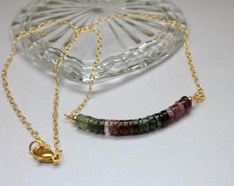 Watermelon Tourmaline Bar Necklace in Gold, Tourmaline Gold Necklace, Ombre Beaded Necklace, October Birthstone, Minimalist