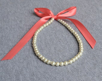 coral ribbon  necklace, white pearl necklace,Ribbon Ties necklace Glass Pearl Necklace,Wedding necklace.bridesmaid necklace,crystal necklace