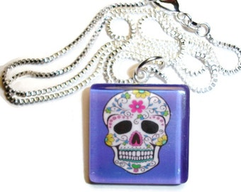 Sugar Skull Dark Blue background Glass Pendant Necklace